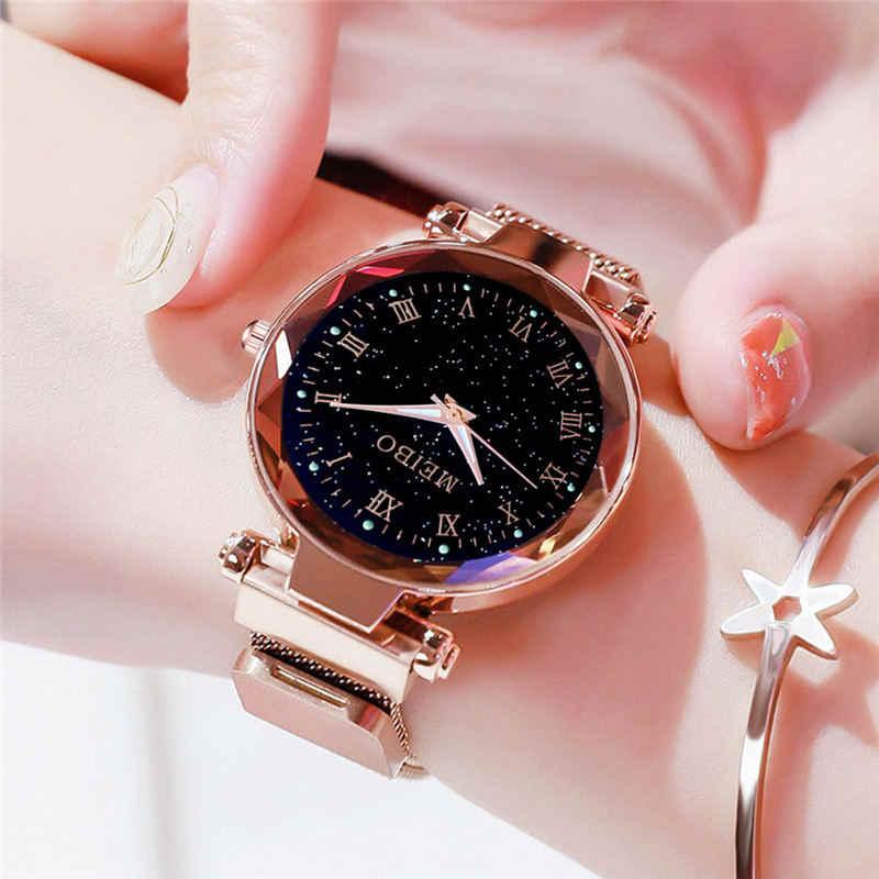 Reloj magnético relojes de mujer reloj de cuarzo rosa dorado de noche luz estrella cielo reloj de mujer reloj magnetico reloj femenino