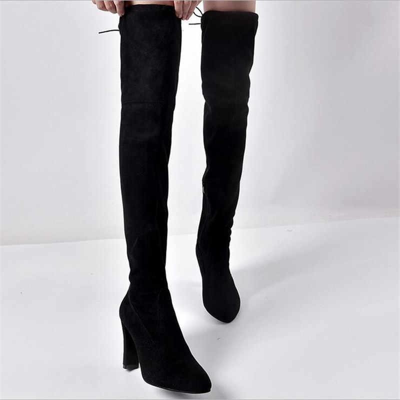 Artı boyutu 34-43 2018 yeni ayakkabı kadın çizmeler siyah diz çizmeler üzerinde seksi kadın sonbahar kış bayan uyluk yüksek çizmeler