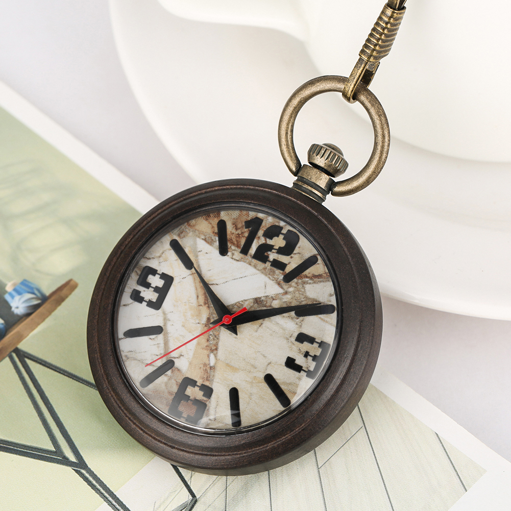 Marble Surface Dial Pocket Watch Female Male Clock Great Ebony Case Necklace Bronze Rough Chain Pendant Watches Gift Zakhorloge