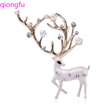 Crystal Pearl Elk High-End Brooch Simple Clothing Accessories Elk Brooches for Women Corsage 2019fashion 1pc woman girl imitation pearl brooch classic charm high quality accessories simple double pearls brooches all match