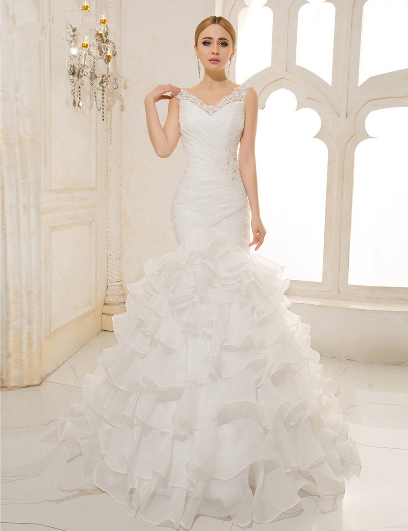 Vestido De Noiva Renda Sexy Mermaid Wedding Dress Vintage V Neck Lace Up Organza Pleated Wedding Gowns 2016 Trouwjurken