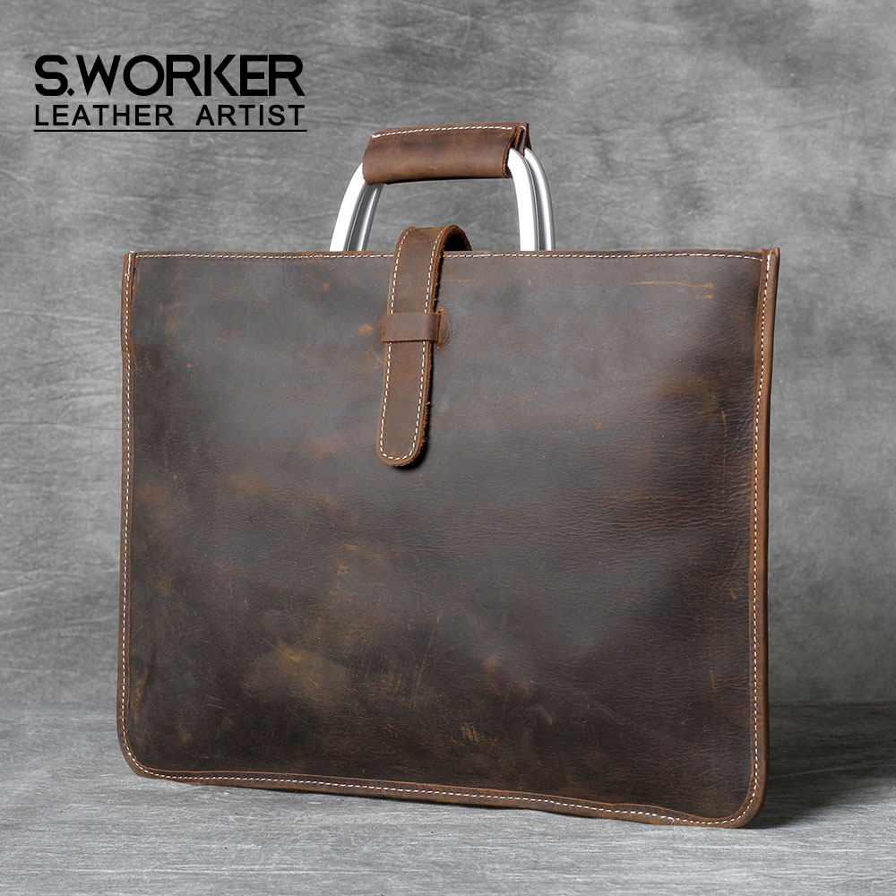 S.WORKER Genuine Leather Men's Handbag Simple Briefcase Shoulder Bag Cowhide Leather Messenger Bag Crazy Horse Leather Women