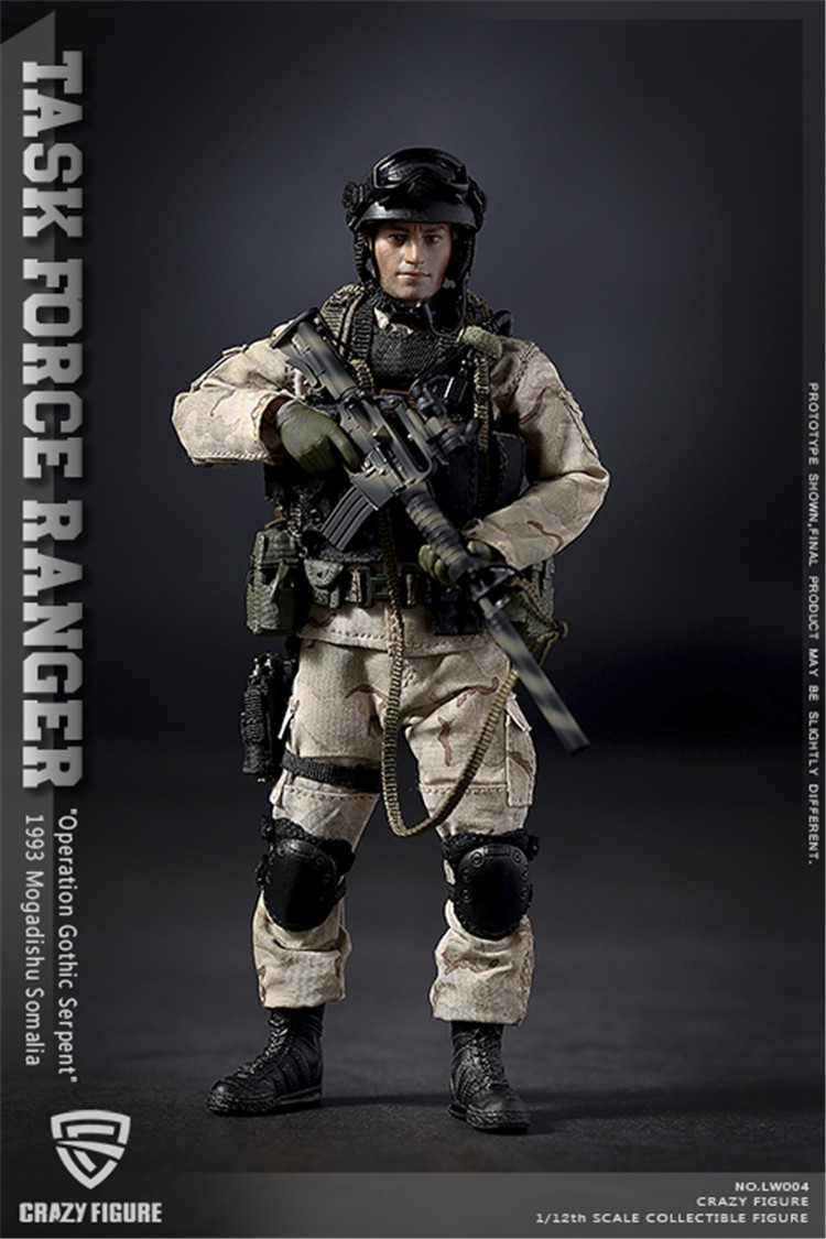 Z.DYnan Crazy Figure 1/12 Military Soldier Action Figure US Delta Special Force Rangers Task Force 1993Male Soldier Model