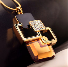 Trend geometric square crystal gray champagne color woman necklace pendant fashion autumn and winter sweater chain dress pendant(China)