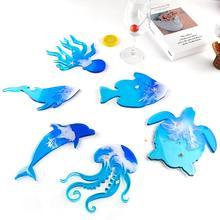 Silicone Mold Coaster-Ocean Tea-Tray Element Shark-Shape Home-Decoration Resin Dolphin