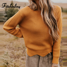 Fitshinling New Arrival 2019 Winter Women Sweaters Pullovers Slim Solid Knitted Jumpers Long Sleeve Sweater Ladies Pull Femme