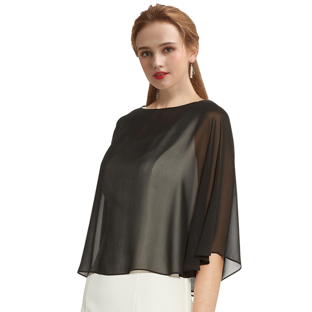 Women Black Evening Dress Chiffon Stole Prom Party V-neck with Button Shrug Elegant Simple Soft Casual Bolero for Lady 11 Colors 10