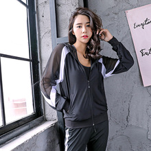 2019Best sellg long sleeve hooded sports coat color matchg mesh yoga clothg loos