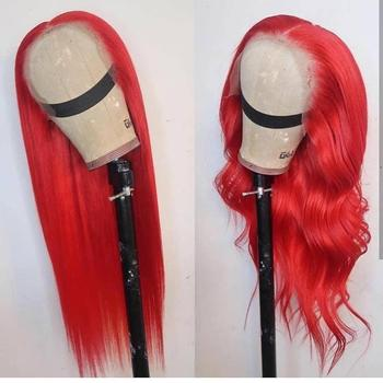 Rubia Rosa rojo gris verde púrpura Encaje Amarillo frente pelucas de cabello humano de color 13x4 PrePlucked Remy brasileño Grey peluca Frontal de encaje