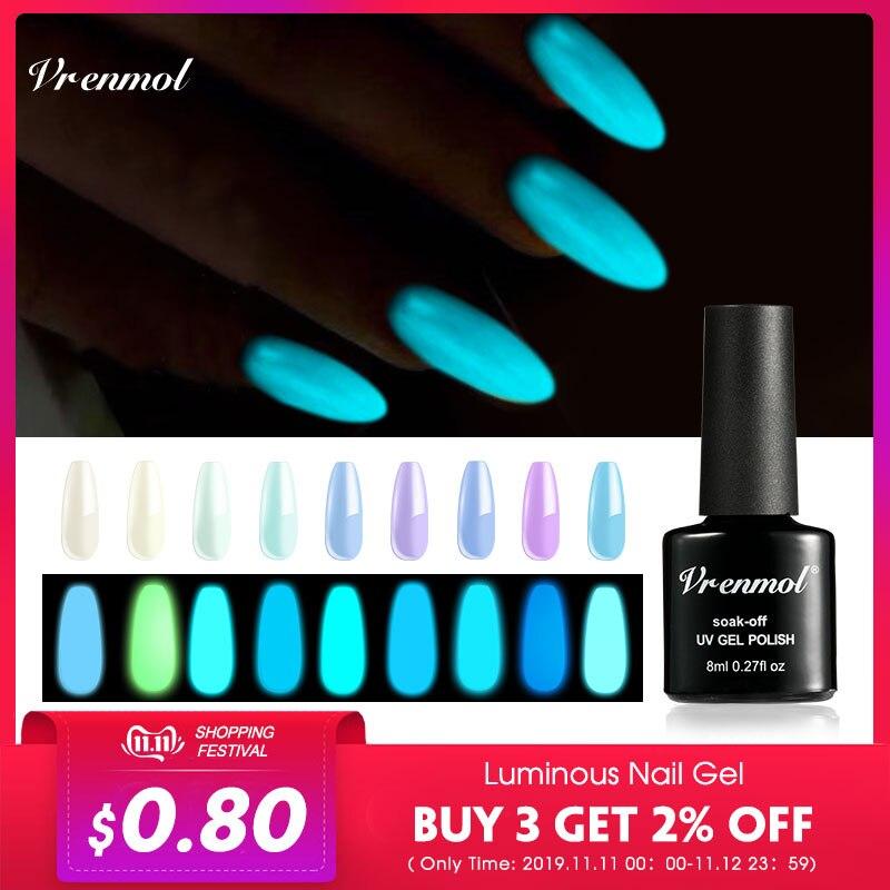 Vrenmol 1pcs Glow In The Dark Gel Varnish UV Nail Gel Polish Esmalte For Nails Fluorescent Luminous Colorful Neon Gel Lacquer