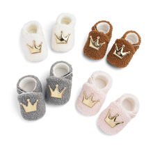 Menoea Kids Shoes 2020 Toddler Crown Baby Shoes Booties Slippers Soft Sole Crib Shoes Boys Girls Anti-Slip Winter Warm Shoes