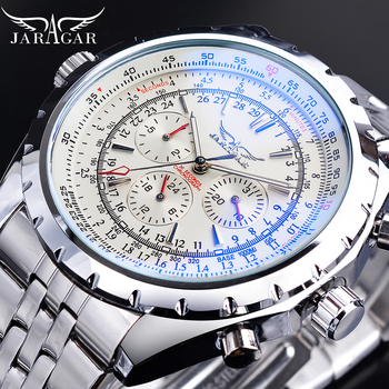 Jaragar Blue Light Glass Design Automatic Watch White Silver Stainless Steel Mechanical Watch Luminous Date Business Sport Clock mce men s fashionable stainless steel band analog mechanical watch silver white