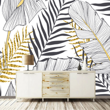 wellyu Customized wallpaper 3d Nordic hand painted black and white banana leaf background living room background wallpaper