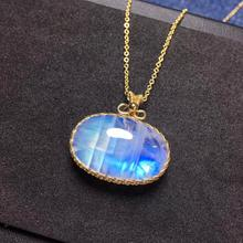 Genuine Natural Moonstone Blue Light Oval Shape Necklace Pendant Stone Women Men Party Love Gift 25x16x10mm 925 Silver AAAAA