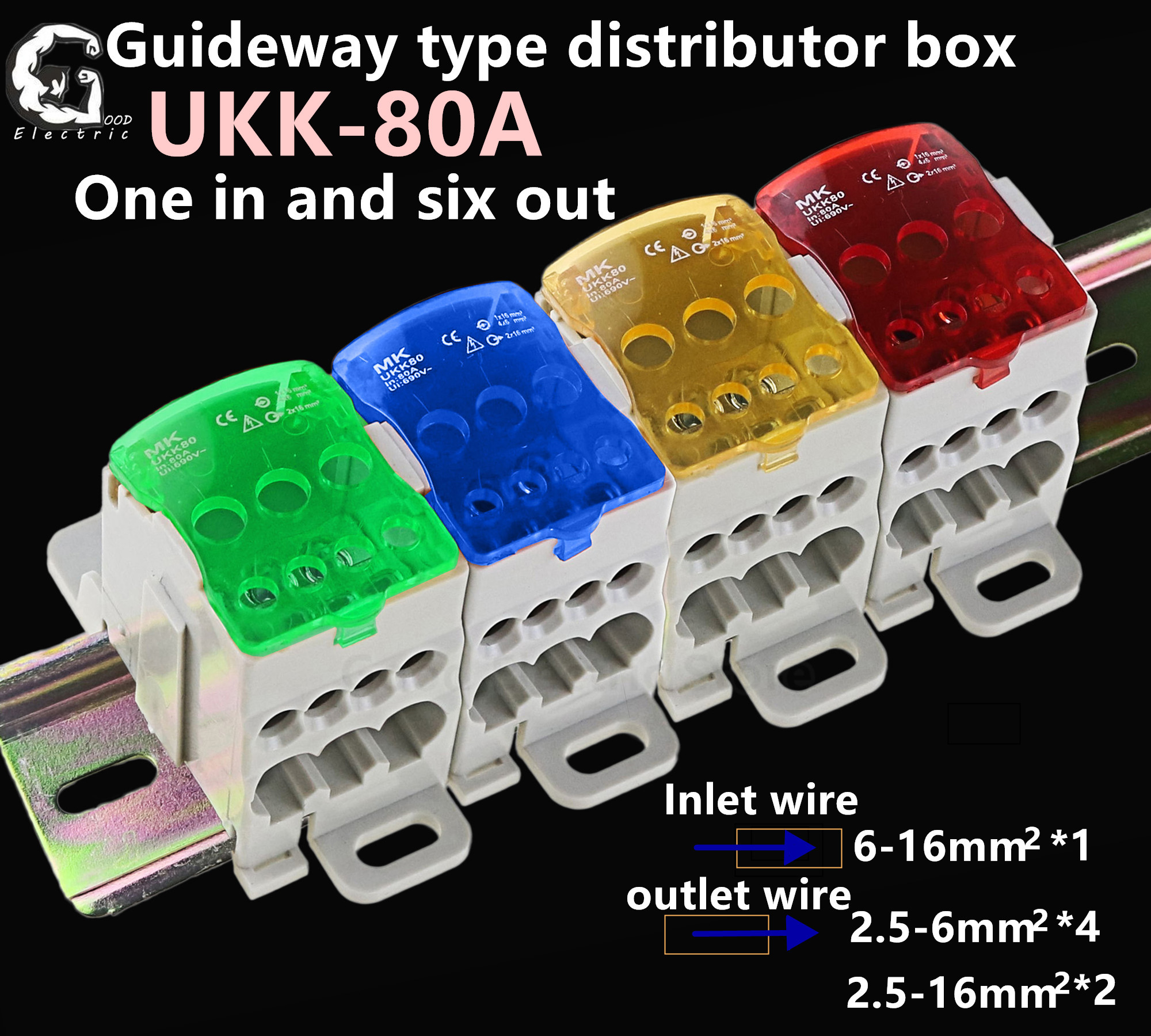 1PCS UKK80A UKK125A UKK160A UKK250A UKK400A UKK500A Connector Terminal Block 1 In Many Out Din Rail Distribution Box ukk-80a image