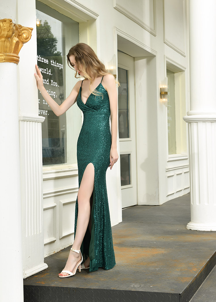 Sexy V Neck Sequins Evening Dresses Long  Floor Length Mermaid Formal Green Evening Dress Prom Gown Strap Gowns Vestido de noche