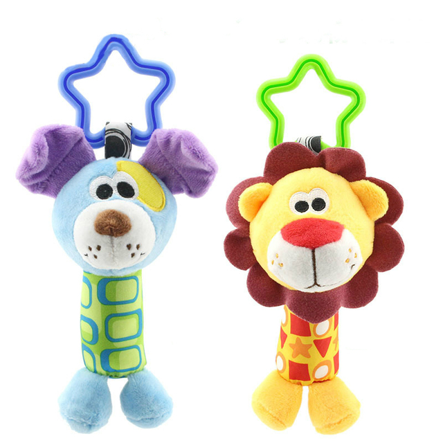 תליית קטיפה תינוק צעצוע רעשן יפה קריקטורה בעלי החיים פעמון יילוד עגלת אביזרי תינוק צעצועי 6 סגנון אריה צבי פיל WJ148