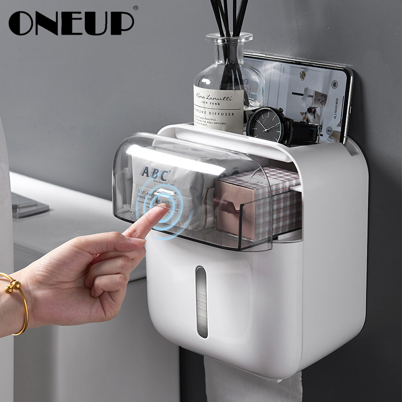 ONEUP Waterproof Toilet Paper Holder Dispenser Home Bathroom Storage Box Portable Tissue Box For Toilet Bathroom Accessories