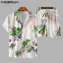 Erkekler hawai setleri baskılı Streetwear yaka kısa kollu gömlek plaj şortu yaz nefes rahat erkekler setleri 2 adet INCERUN
