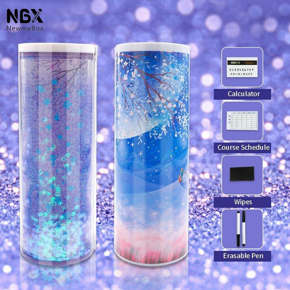 1PC Creative Multifunction Cylindrical Pencil Box Case School Stationery Pen Holder With Solar Calculator Translucent Pencilcase