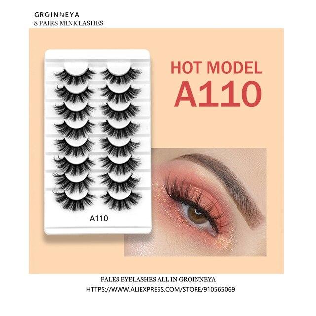 3D Mink Lashes 5/8/10 Pairs Natural False Eyelashes Fluffy Soft Wispy Volume Dramatic Long Cross Eyelash Extension Makeup 2