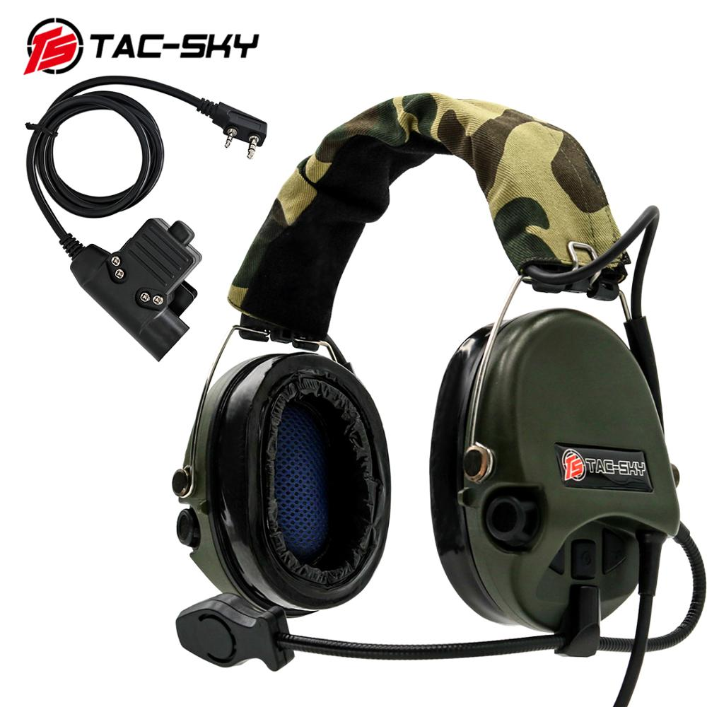 TAC-SKY Airsofte Sordin Silicone Earmuffs Noise Reduction Pickup Hunting Sports Headset Tactical Headset FG+ U94 PTT