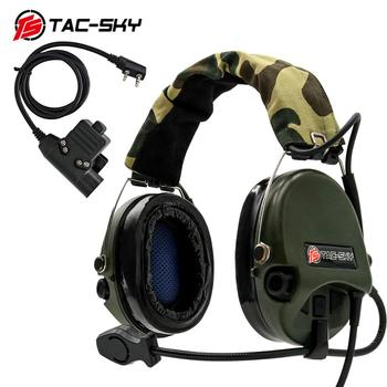 TAC-SKY SORDIN silicone earmuffs noise reduction pickup hunting headset tactical shooting headset + military adapter U94 PTT  FG tac sky new comtac iii tactical hunting noise reduction pickup military shooting headset arc helmet track adapter u94 ptt fg