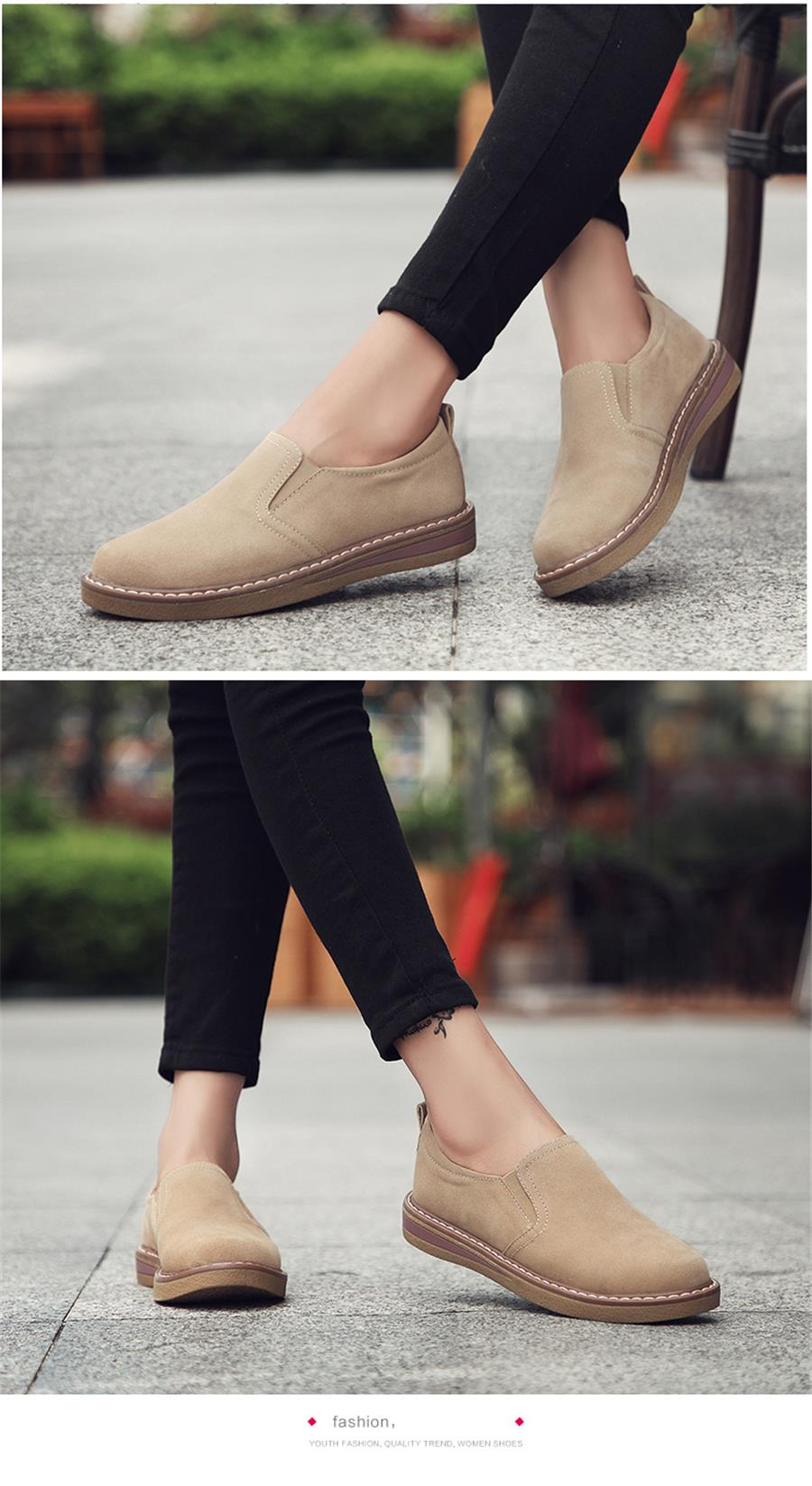 STS BRAND 2019 New Spring Women Flats Sneakers Suede Leather Round Toe Shoes Casual Shoes Women Slip On Flat Loafers Fazz Oxford (11)