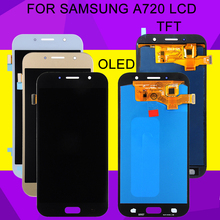 HH OLED A720 Lcd For Samsung Galaxy A7 2017 Lcd Replacement A720F Display With Touch Screen Digitizer Assembly Free Shipping 2pcs black lcd for samsung galaxy s i9000 lcd touch screen display with digitizer full assembly free shipping tracking no