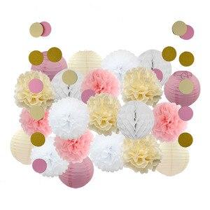 Image 1 - Baby Girl dekoracja na Baby shower 22 sztuk/zestaw różowy beżowy niebieski zestaw okrągłe papierowe latarnia dzieci chrzest Party Favor do zawieszenia z papieru rzemiosła