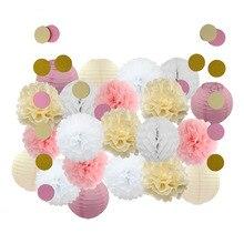 Conjunto de decoración para Celebración de bebé, Set de 22 unidades, FAROL DE PAPEL redondo, color rosa, Beige y azul, recuerdo de fiesta de bautismo, manualidades de papel colgante