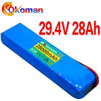 Okoman  7S4P 24v li ion battery pack 29.4v 28Ah electric bicycle motor ebike scooter 18650 lithium rechargeable batteries 15A
