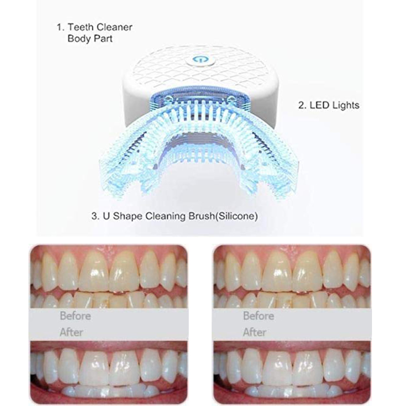 2019NEW The Best Teeth Whitening Electric Lazy Toothbrush Portable Automatic LED Lights IPX7 Waterproof Hands-Free Fast Cleaning image