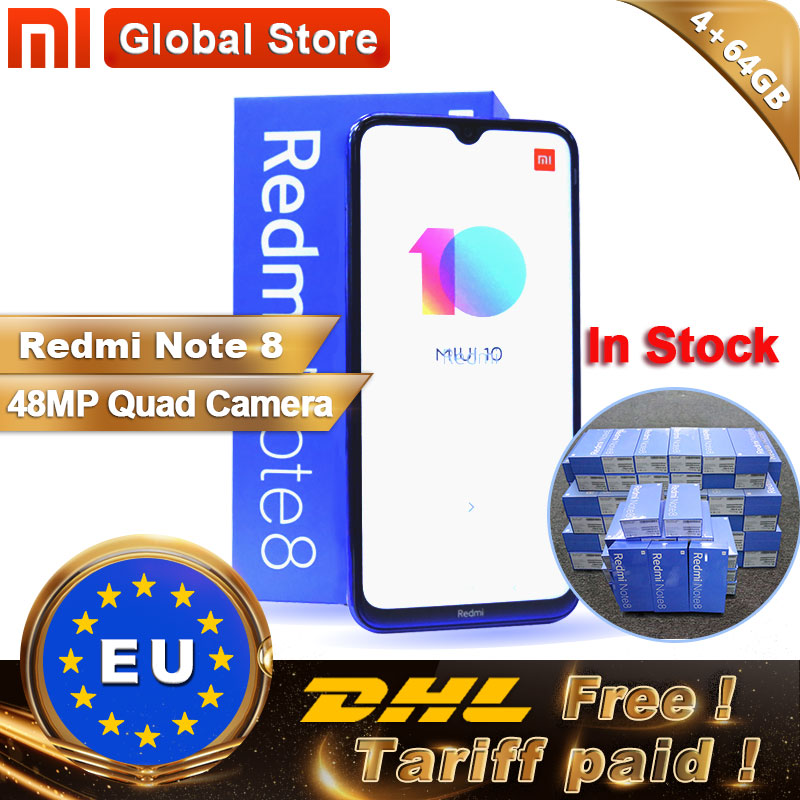 "In Stock Original Xiaomi Redmi Note 8 4GB 64GB Snapdragon 665 Octa Core Smartphone 6.3"" 48MP Quad Rear Camera 4000mAh 18W"