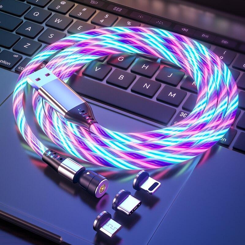 Вращающийся на 540 градусов светодиодный светильник Магнитный USB-кабель для зарядки кабель Micro USB Type-C зарядный кабель для IPhone Xiaomi Samsung