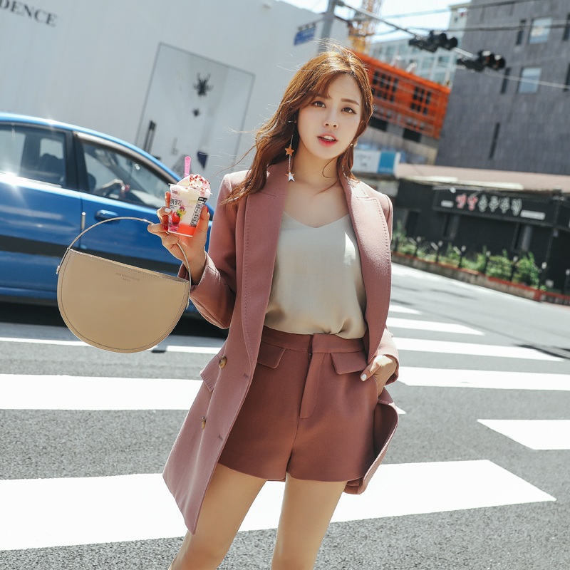 Stylish Pink Ladies Blazer Casual Loose Simple Suit Jacket Vintage Korean Office Spring Autumn Women Blazer Large Size MM60NXZ