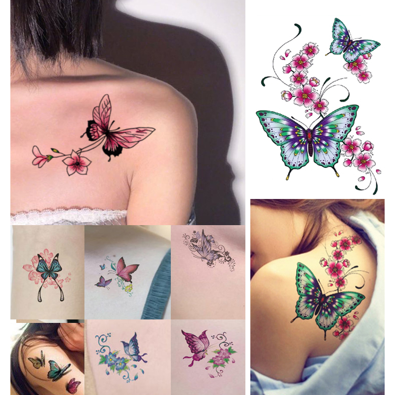 Waterproof Temporary Tattoos Sexy Fake Tattoo Body Art  Sticker Cool Thing Stuff Traumatic Stickers Women Girl Butterfly For Men