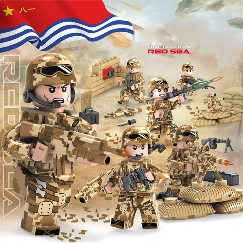 6pcs Legoings Red Sea Special Military Minifigured Army Weapon Soldier SWAT War Building Blocks Bricks Toys For Boys Gift