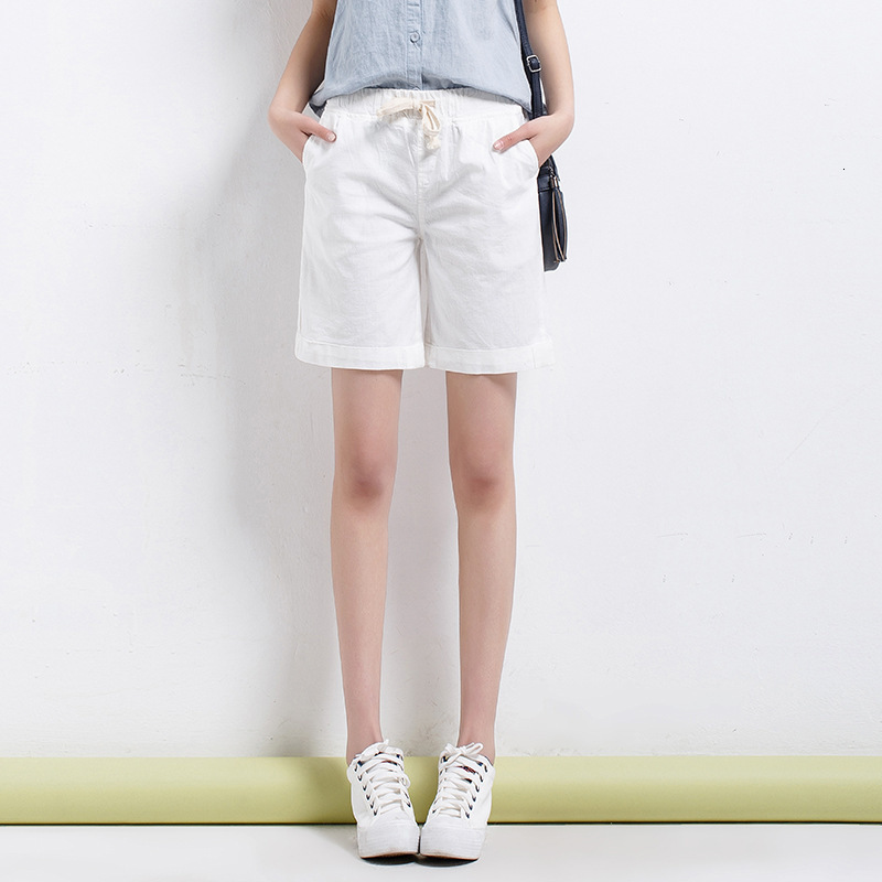 #0571 Summer Casual Loose Shorts Women Plus Size Cotton Linen Wide Leg Short Pants Ladies Elastic Waist Solid Color Vintage Thin