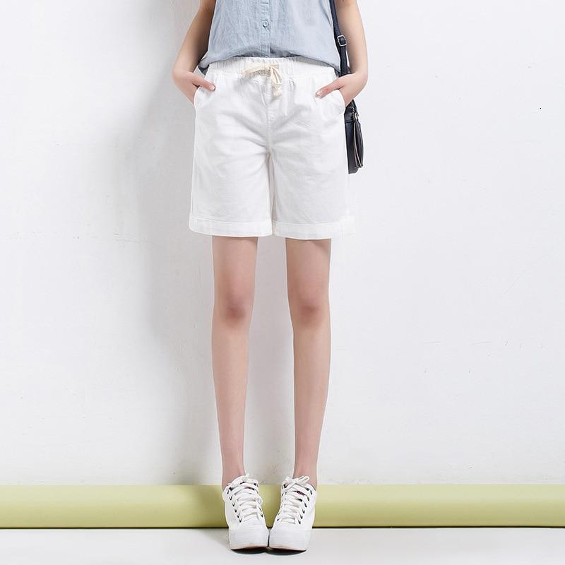 #0571 Summer Casual Loose Shorts Women Plus Size Cotton Linen Wide Leg Short Pants Ladies Elastic Waist Solid Color Vintage Thin