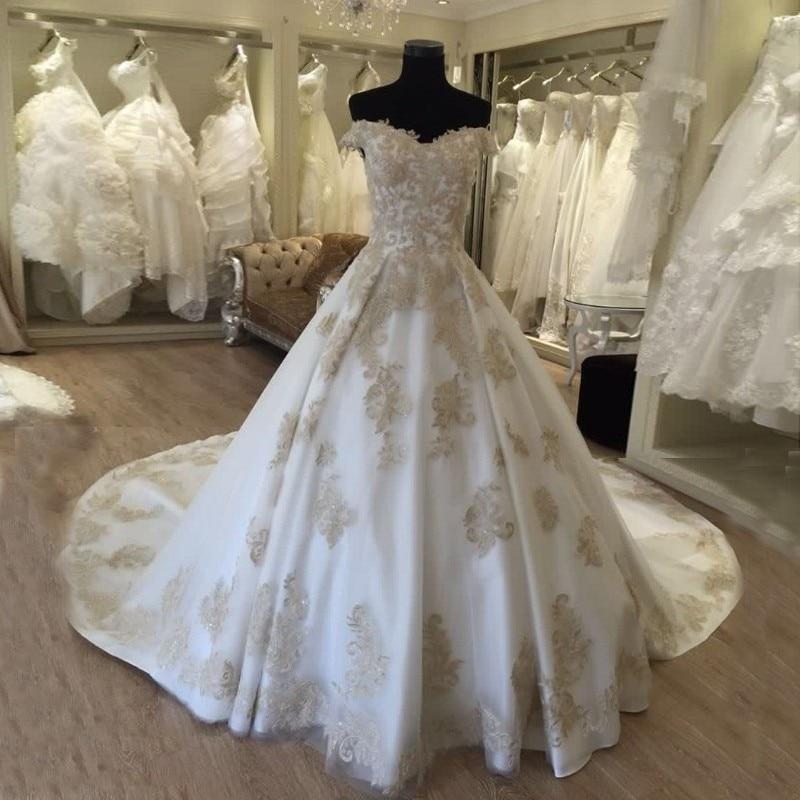 Vestidos De Noiva Com Foto Real Luxury Gold Lace Appliques 2018 Vestido De Casamento Trouwjurk Mother Of The Bride Dresses