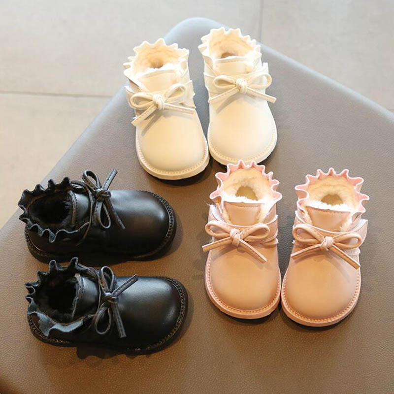 Winter Lovely Plush Baby Girls Princess Shoes Bowknot Warm Infant Boots Baby Snow Boots Soft Sole Children Boots For Girls