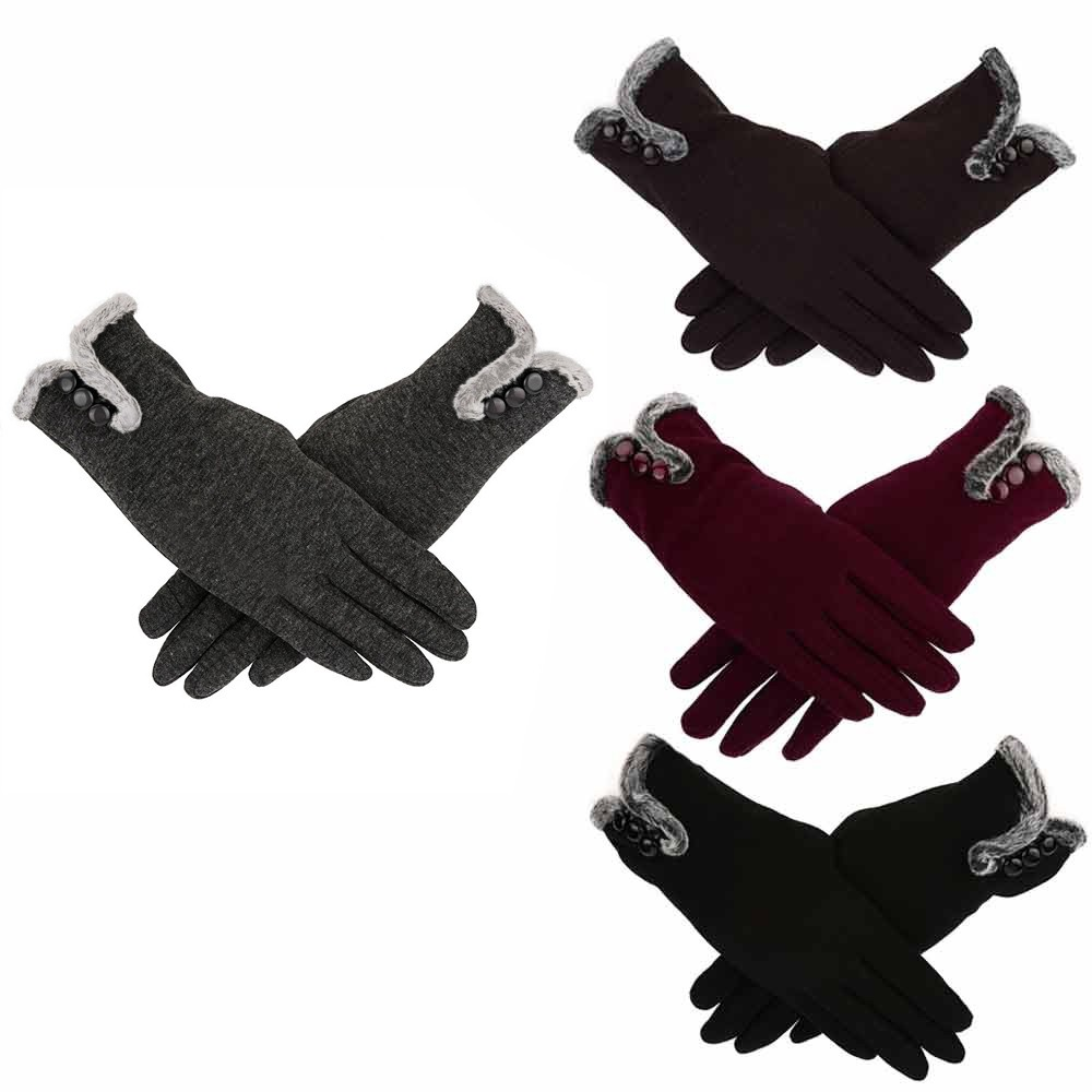Winter Gloves Women Cashmere Keep Warm Driving Full Finger Gloves  Screen Glove Handschoenen