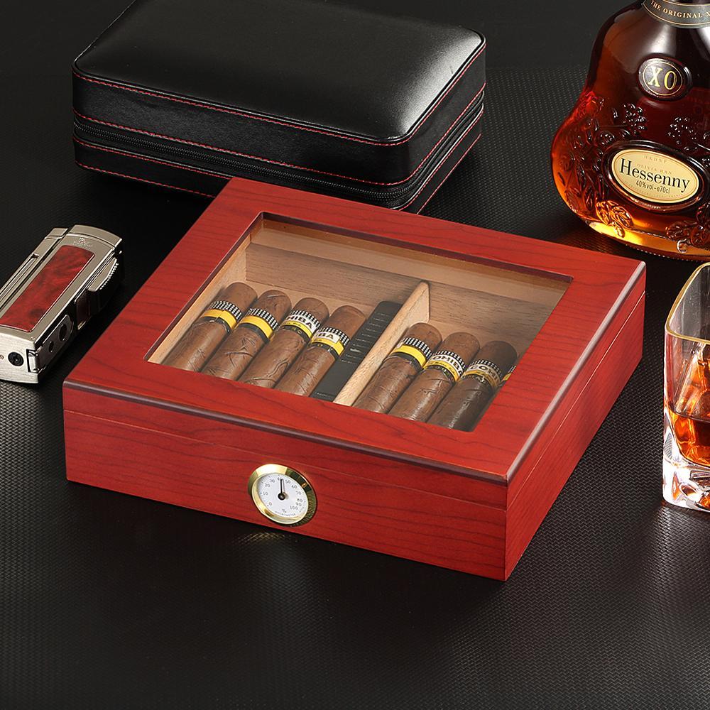 Boîte à cigares de voyage en bois de cèdre, avec humidificateur hygromètre, étui en verre