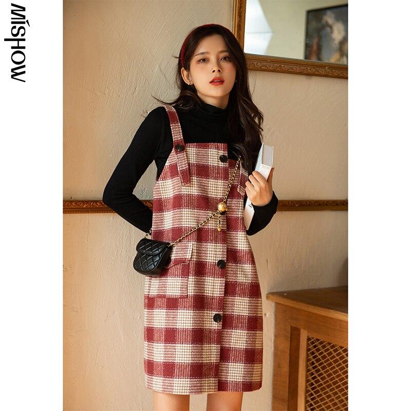 MISHOW-Vestidos de invierno Vintage para mujer, tirantes a cuadros sin mangas, Retro, MX20D1135, 2020