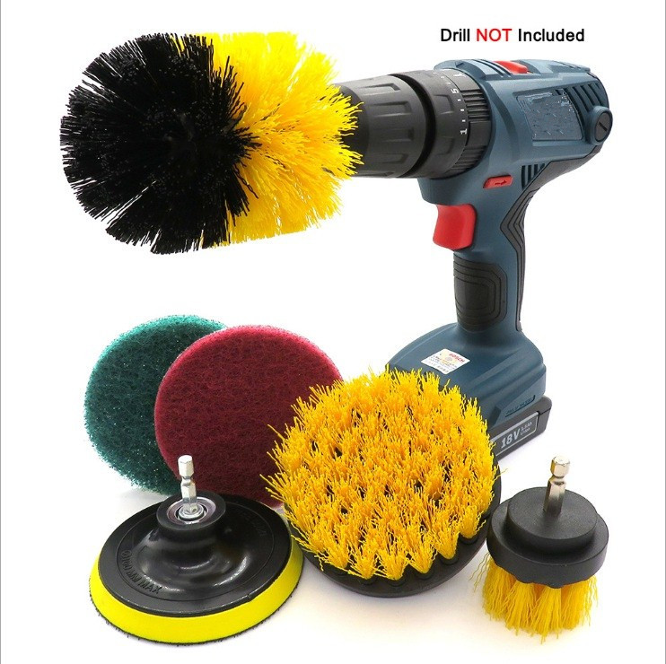 6Pcs Drill Brush Kit , Power Scrubber Brush,Scouring Pads And Scrub Sponge All Purpose For Car Sofa, Kitchen, Bathroom Etc