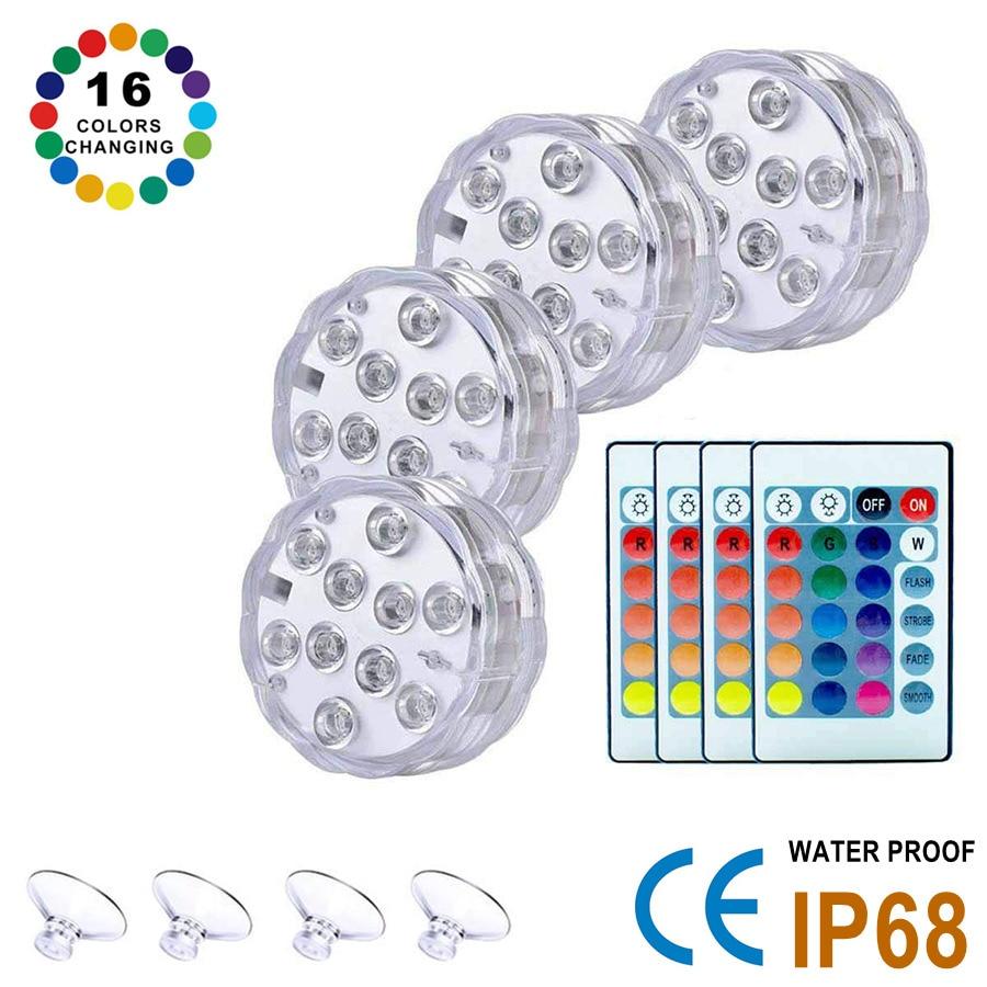 10 светодиодов погружной светильник with16 RGB Цвета для использования вне помещений пруд ваза фонтан сада плавательный бассейн подводный свети...