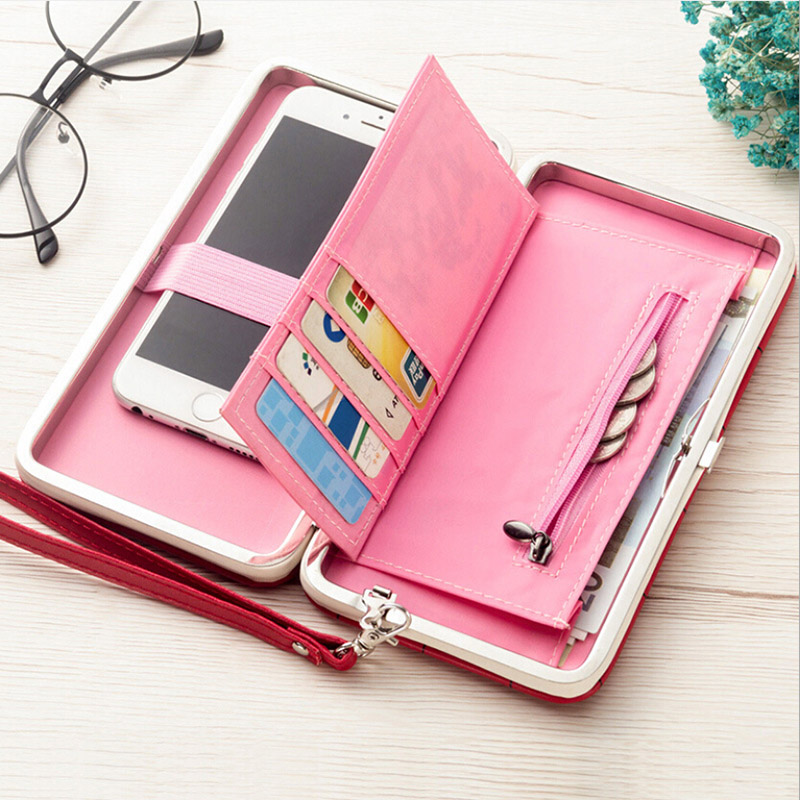 PU Leather Long Phone Wallet Women Purses Coin Wallet Credit Card Holders Clutch Bags Money Wallet Female Billetera Portemonnee