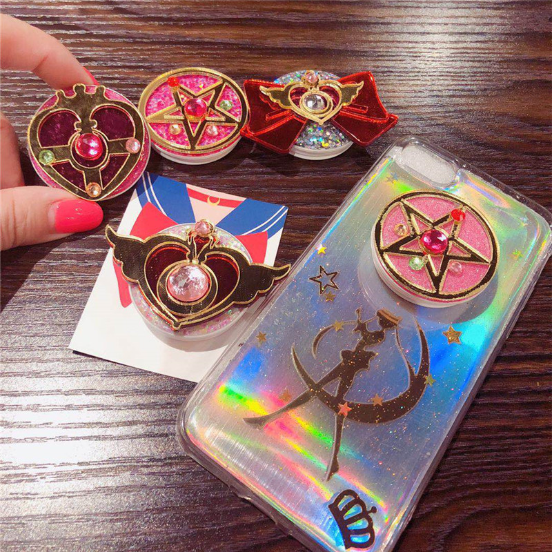 Free Shipping Universal Cell Phone Grip Expanding Stand And Grip Popping Socket Phone Sailor Moon Phone Stand Finger Ring Holder