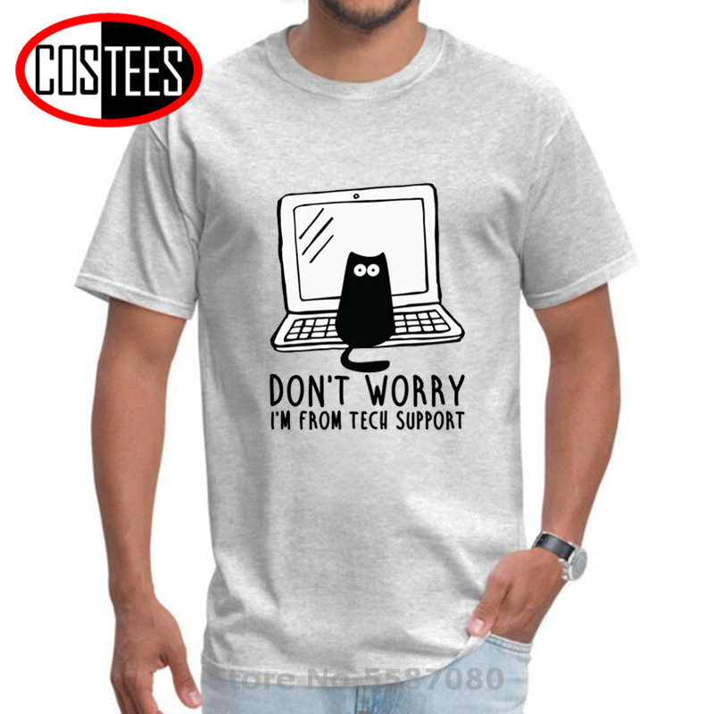 Computer Programs Cat Printed T-Shirt Tech Support 3D Funny Hacker Cats Tshirt Purrgrammer Cat Software Programming Mens T-shirt image